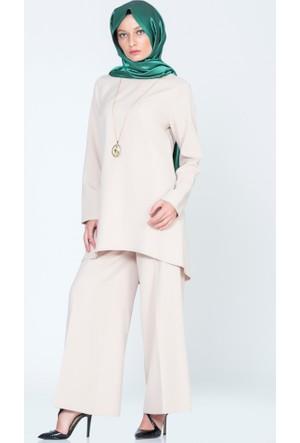Benguen Düz Tunik Pantolon Takım 9007 Bej