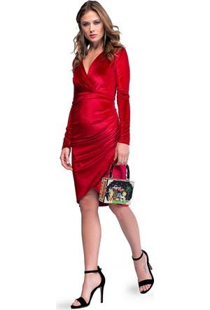Eka Kruvaze Yaka Arkası Fermuarlı Kadife Elbise