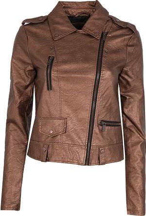 Vero Moda Bayan Deri Ceket Kahverengi 10185779