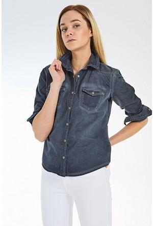 LTB Kadın Ansley X Navy Aged Wash Gömlek Füme