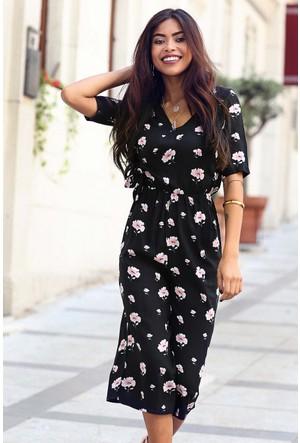 Womenice Anvelop Yaka Pudra Çiçekli Tulum