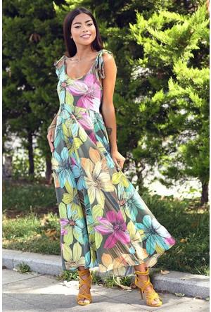 Womenice Çiçek Baskı Bağlamalı İnce Askılı Elbise