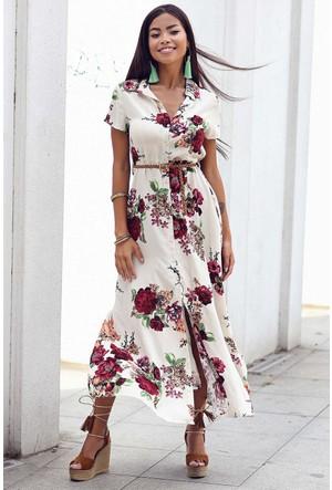 Womenice Çiçek Baskılı Kısa Kol Gömlek Elbise