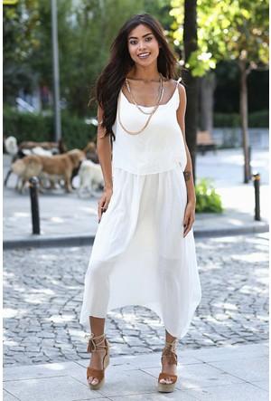 Womenice Krinkıl İnce Askı Elbise