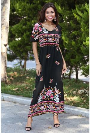Womenice Pembe Baskılı Beli Lastikli Elbise
