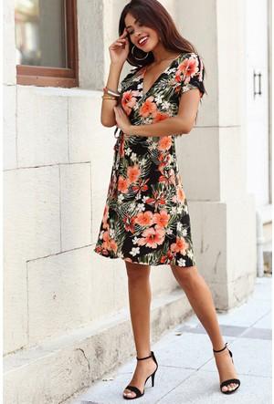 Womenice Turuncu Çiçekli Kruvaze Bağlı Elbise
