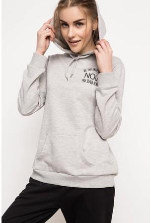 DeFacto Kadın Kapşonlu Sweatshirt Gri