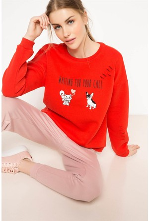 DeFacto Kadın Baskılı Sweatshirt Kırmızı