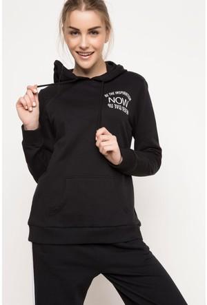 DeFacto Kadın Kapşonlu Sweatshirt Siyah