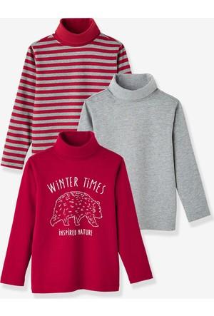 Vertbaudet Erkek Çocuk Balıkçı Yaka 3'lü T-Shirt