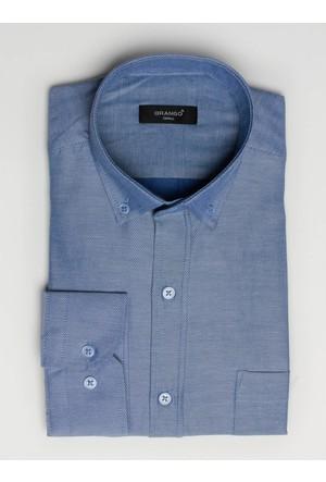 Brango 12605-4 Klasik Desenli Mavi Gömlek