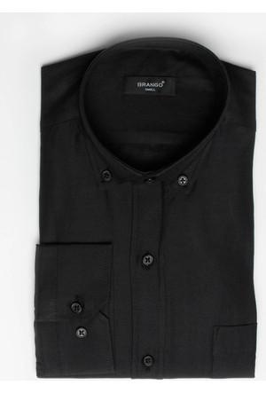 Brango 12605-5 Klasik Desenli Siyah Gömlek