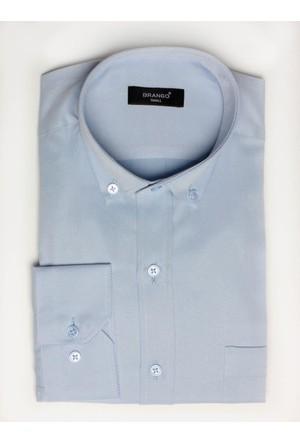 Brango 12605-6 Klasik Desenli Açık Mavi Gömlek