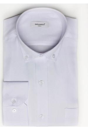 Brango 12605-7 Klasik Desenli Beyaz Gömlek
