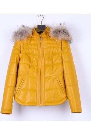 Kemal Tanca 303 633 Kadın Deri Ceket Sarı