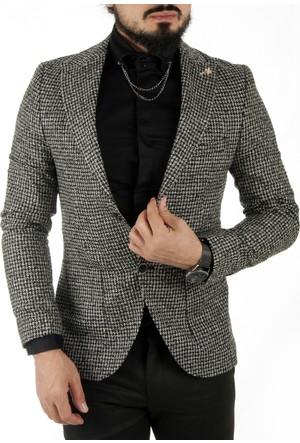 DeepSEA Siyah Kare Desenli İtalyan Kesim Kaşe Blazer Ceket 1760142-002