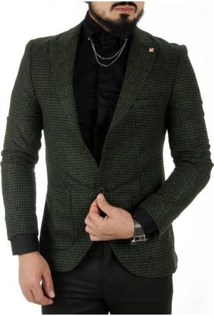 DeepSEA Yeşil Kare Desenli İtalyan Kesim Kaşe Blazer Ceket 1760142-009