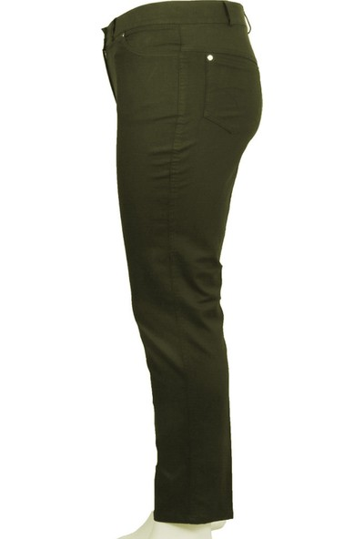 Ruşetül Süper Battal Cotton Kadın Büyük Beden Pantolon Askeri Yeşil