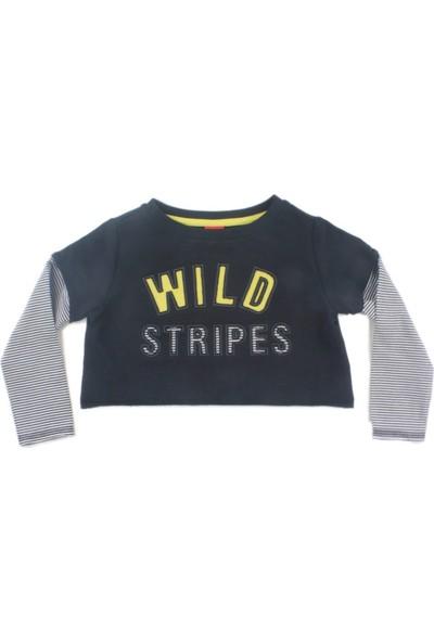 Karamela Kısa Sweatshirt, Zebra Siyah Çizgili
