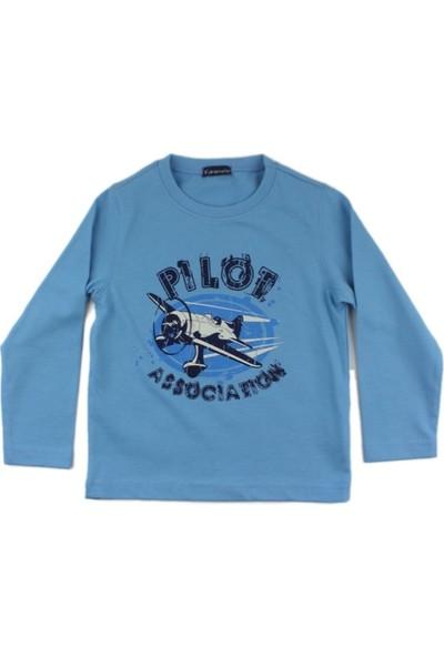 Karamela Erkek Çocuk Uzun Kollu T-shirt, Pilot Mavi