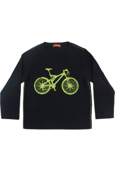 Karamela Erkek Çocuk Uzun Kollu T-shirt, Bisiklet Siyah