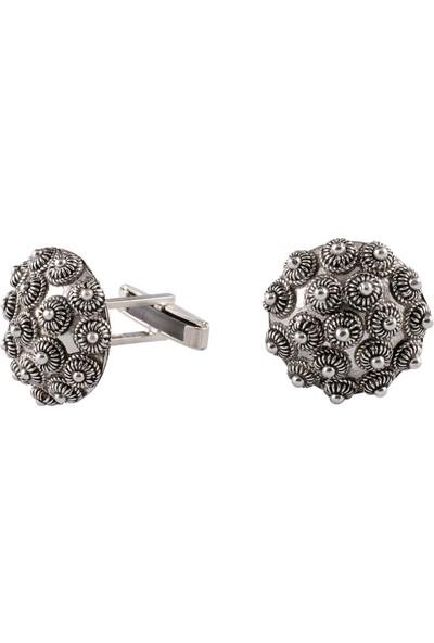 Akyüz Gümüş Bereket Modeli Telkari Gümüş Kol Düğmesi Kdm018