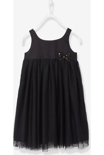 Vertbaudet Kız Çocuk Siyah Saten Elbise