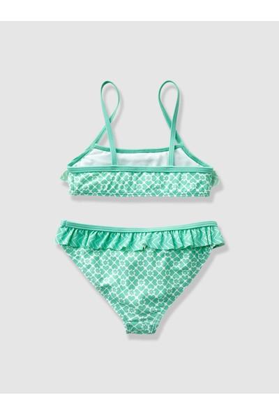 Vertbaudet Kız Çocuk Desenli Açık Yeşil Bikini