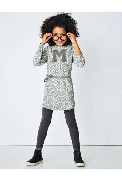 Vertbaudet Kız Çocuk Gri Desenli Elbise
