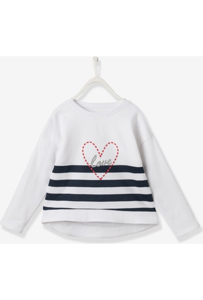 Vertbaudet Kız Çocuk Kalpli Sweatshirt