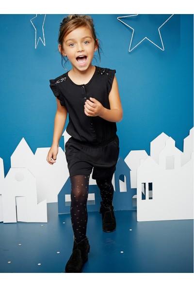 Vertbaudet Kız Çocuk Pullu Siyah Şort Tulum