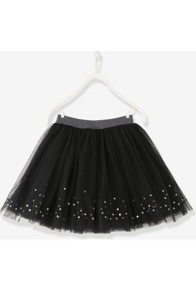 Vertbaudet Kız Çocuk Pullu Siyah Tül Etek