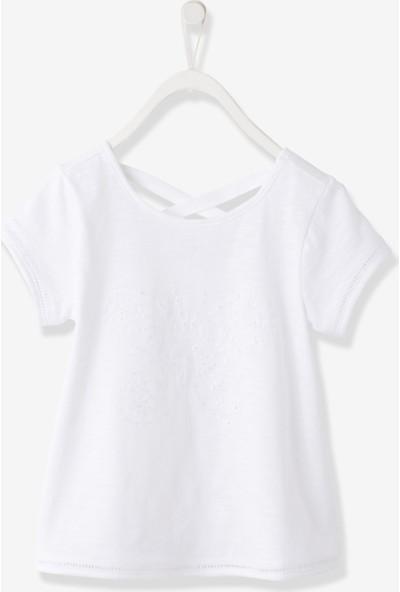 Vertbaudet Kız Çocuk Kelebekli Beyaz Tshirt