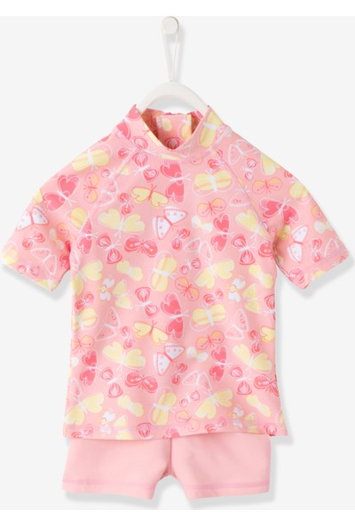 Vertbaudet Kız Çocuk Pembe Uv Tshirt - Şort Set