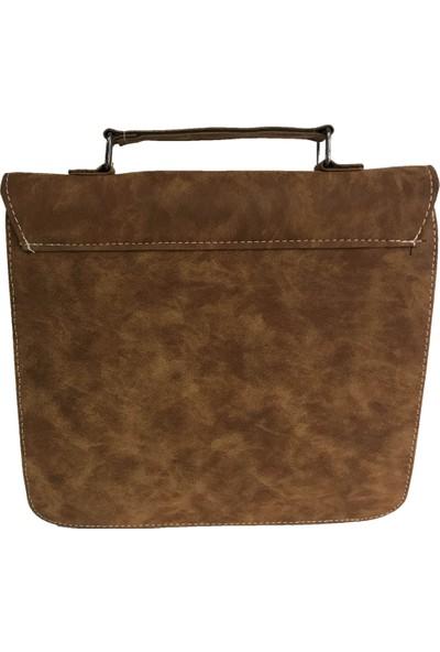 Çanta Stilim Taba Renk Nubuk Deri 2422-T El Ve Çapraz Bayan Çantası
