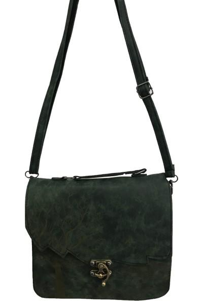 Çanta Stilim Yeşil Renk Nubuk Deri 2422-Y El Ve Çapraz Bayan Çantası