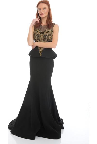 Carmen Gold İşlemeli Büstiyer Takım Balık Abiye Elbise