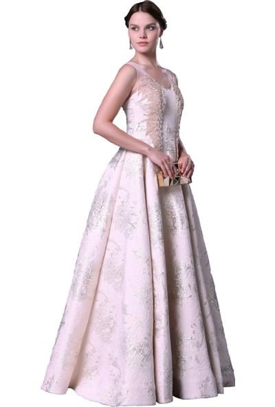 Carmen Pudra Jakar Desenli Uzun Kabarık Abiye Elbise