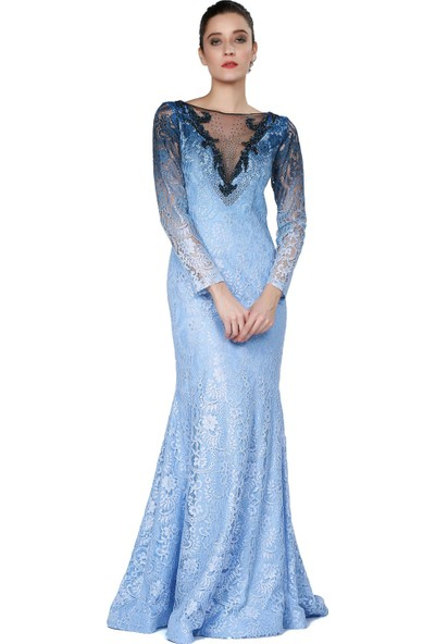 Pierre Cardin Bebe Mavi Dantelli Uzun Balık Abiye Elbise