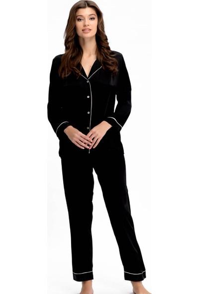 Ayyıldız 3926 İpeksi Saten Pijama Takım Siyah