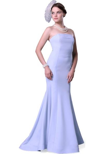 Pierre Cardin Bebe Mavi Straplez Uzun Balık Abiye Elbise