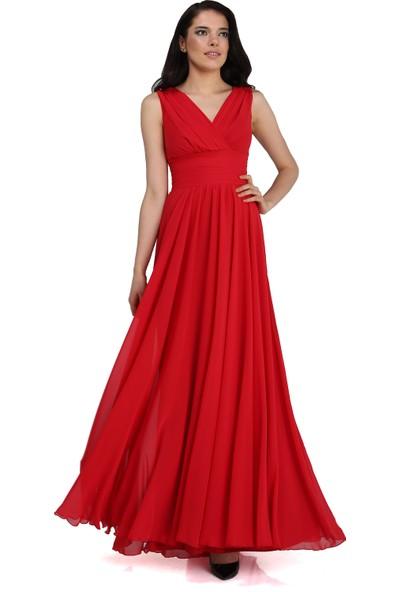 Pierre Cardin Kırmızı Şifon V Yaka Uzun Abiye Elbise