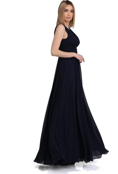 Pierre Cardin Lacivert Şifon V Yaka Uzun Abiye Elbise