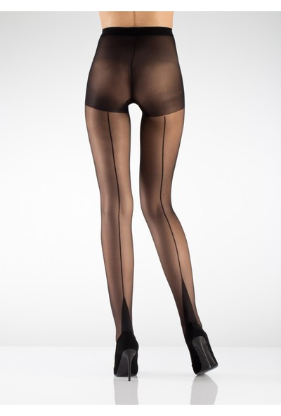 Hane14 Arkadan Çizgili Desenli Külotlu Çorap Siyah