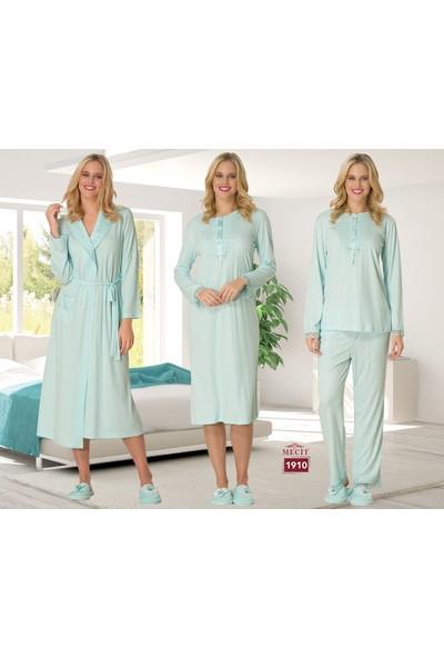 Şık Mecit 1910 Kadın Pijama Gecelik Sabahlık Dörtlü Takım