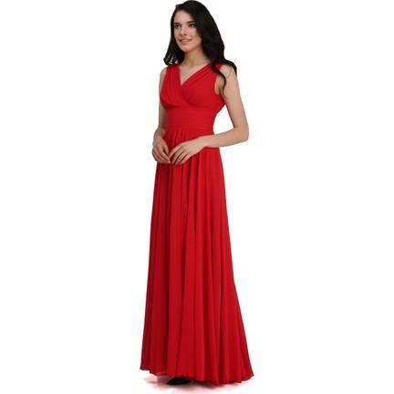 dc4d6c9f0a4a7 Pierre Cardin Kırmızı Şifon V Yaka Uzun Abiye Elbise Fiyatı