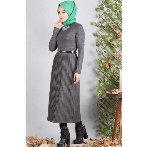 Burucline Kadın Elbise Antrasit 17-2B633026