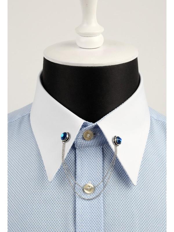 La Pescara Lacivert Taşlı Zincirli Gümüş Renk Gömlek Yaka İğnesi Gı022