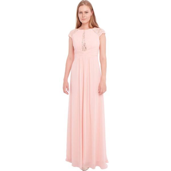 c400399a697f0 Pierre Cardin Pudra Şifon Dantel İşlemeli Uzun Abiye Elbise - 42 Ürün Resmi