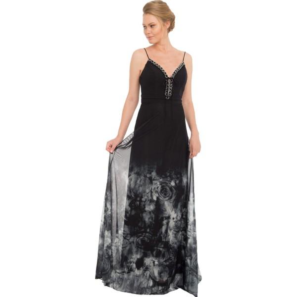 13ea4de12bedc Pierre Cardin Siyah Tüllü Desenli Uzun Abiye Elbise - 42 Fiyatları ...